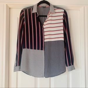 RW&Co. Striped Button-Up Shirt, xsmall